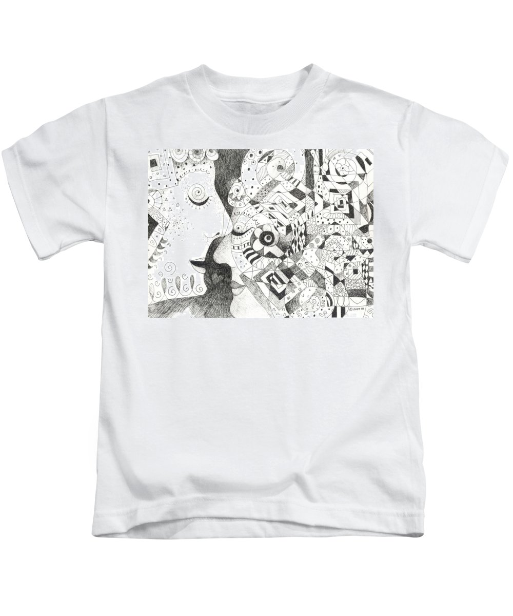 Relationship Kids T-Shirt featuring the drawing Tall Tales by Helena Tiainen