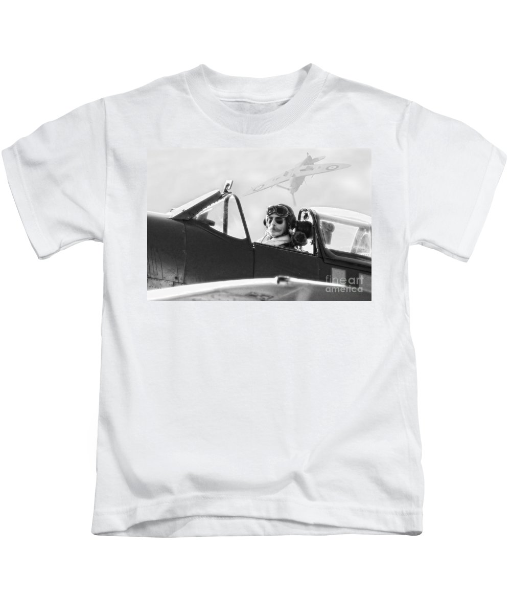 Spitfire Kids T-Shirt featuring the digital art Tally Ho by Nigel Bangert