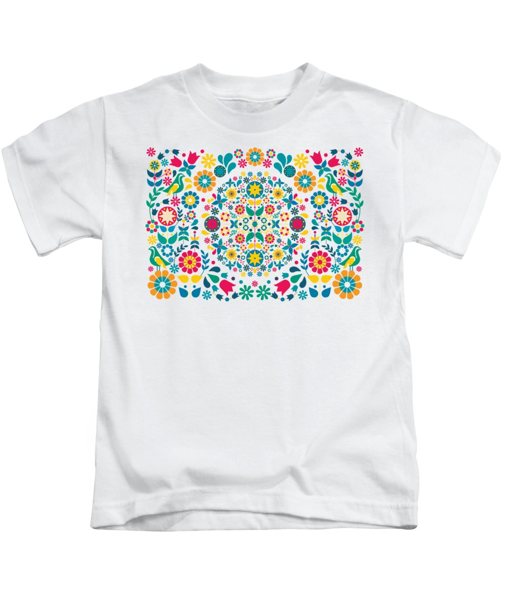 Flores Kids T-Shirt featuring the digital art Flores Y Aves by Karina Rondon