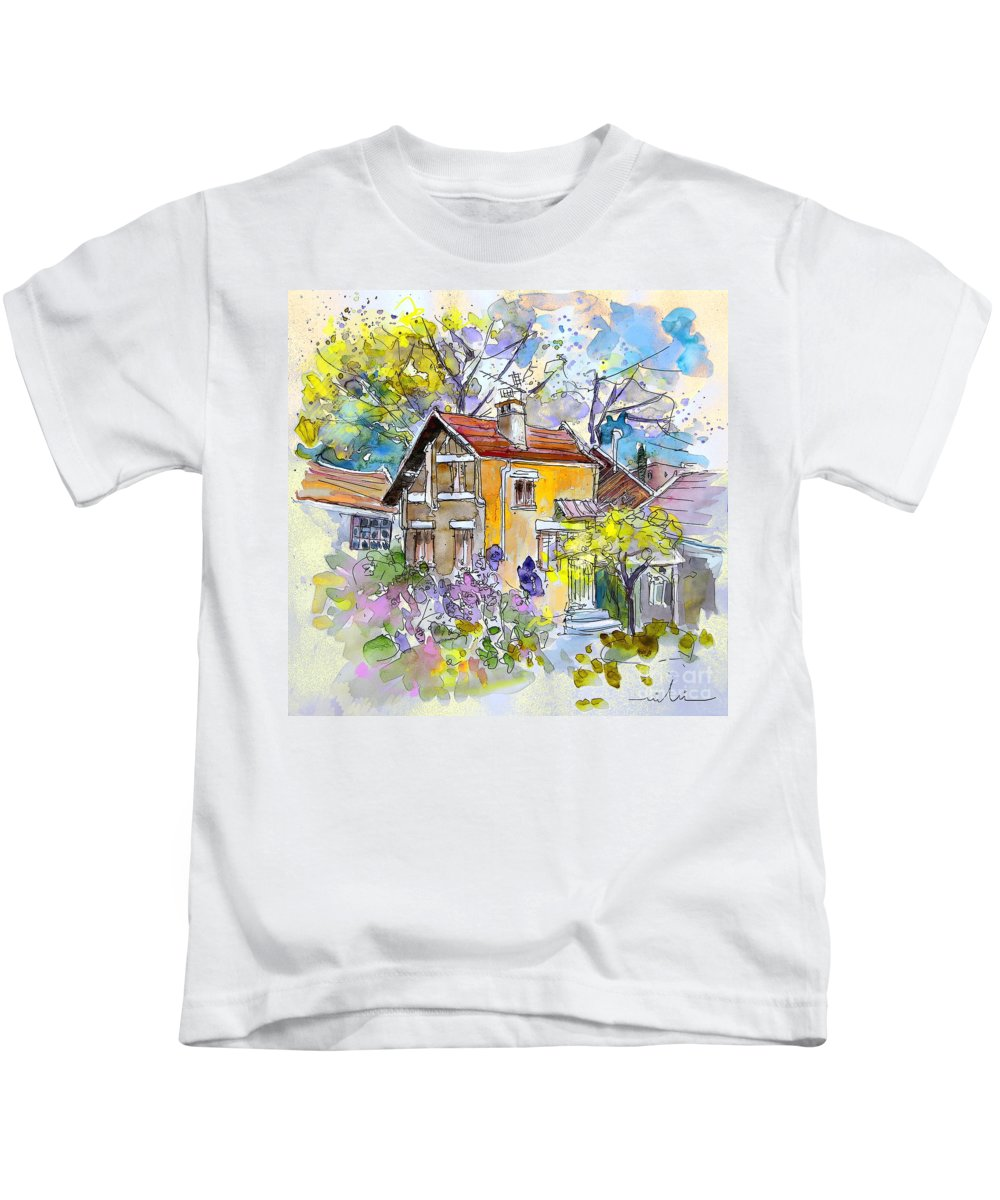 Tarbes Kids T-Shirt featuring the painting Tarbes 03 by Miki De Goodaboom