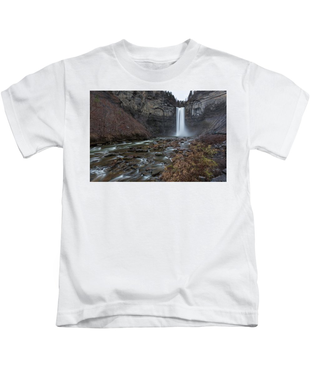 Explore Kids T-Shirt featuring the photograph Taughannock Falls by Anders Rosqvist