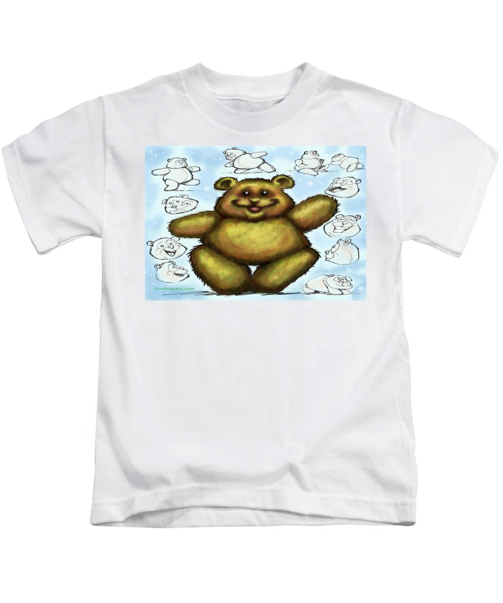Bear Kids T-Shirt featuring the painting Teddy Bear by Kevin Middleton
