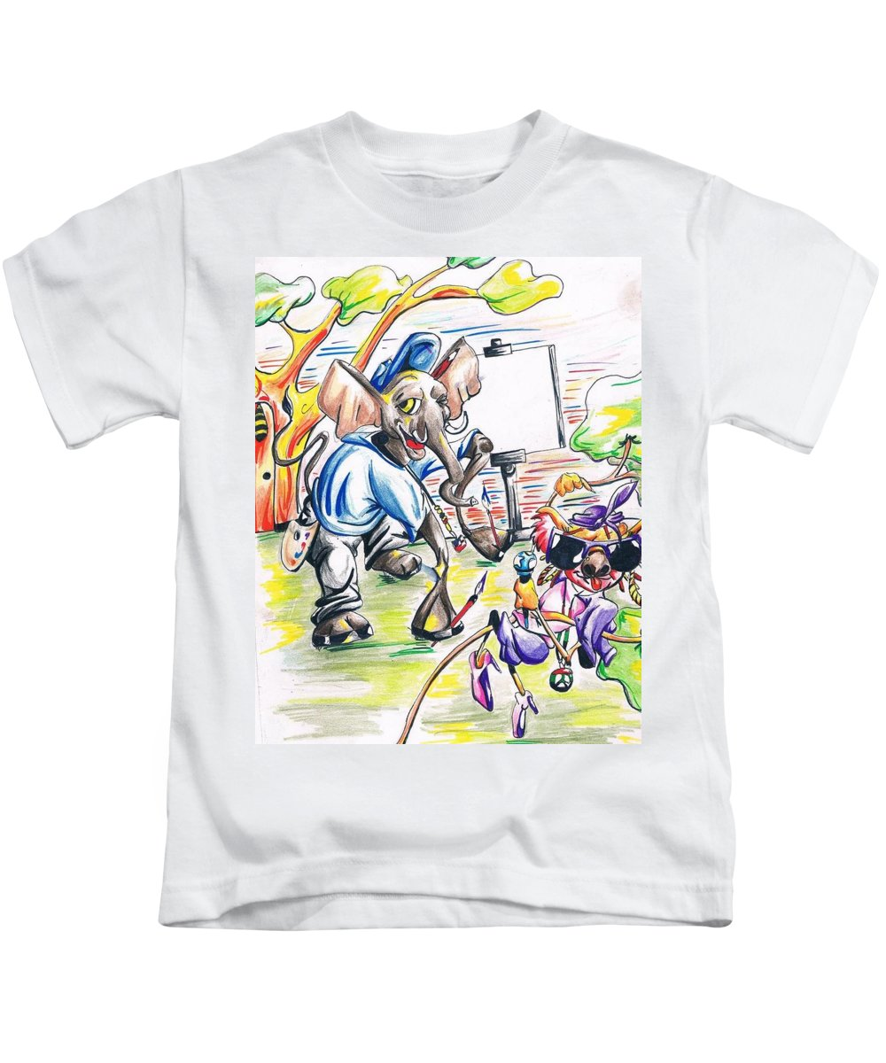 Kids T-Shirt featuring the drawing Teddy Elephante And Kristina Koalis by JaFleu