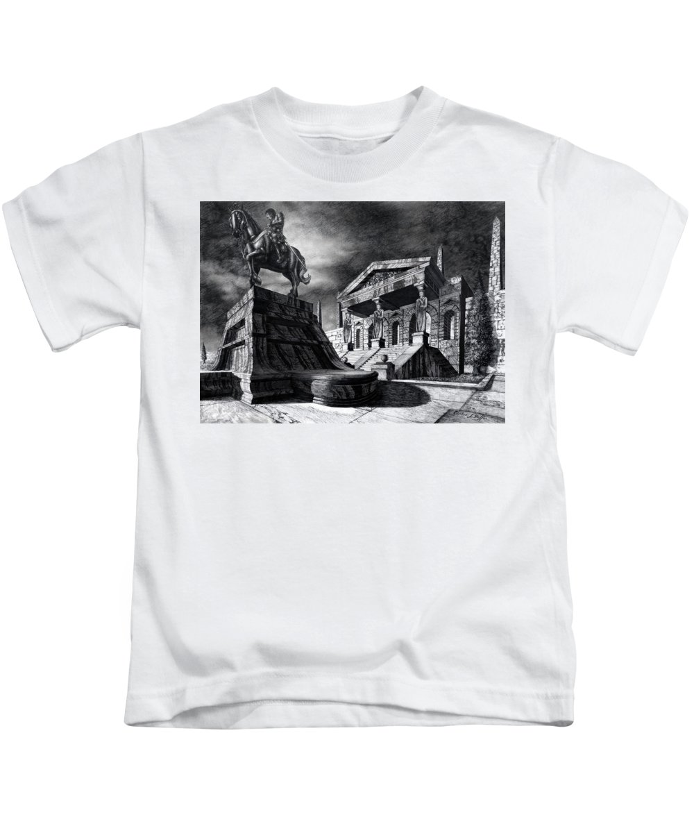 Greek Architecture Kids T-Shirt featuring the drawing Temple Of Perseus by Curtiss Shaffer