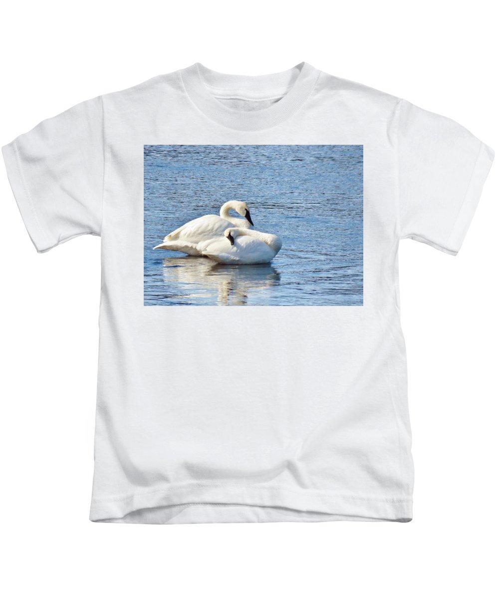 Swan Kids T-Shirt featuring the photograph Tender Moment by Karen Jones