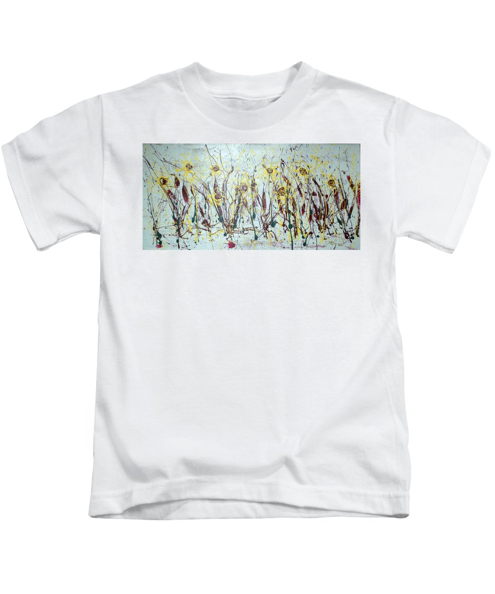 Flowers Kids T-Shirt featuring the painting Tending My Garden by J R Seymour