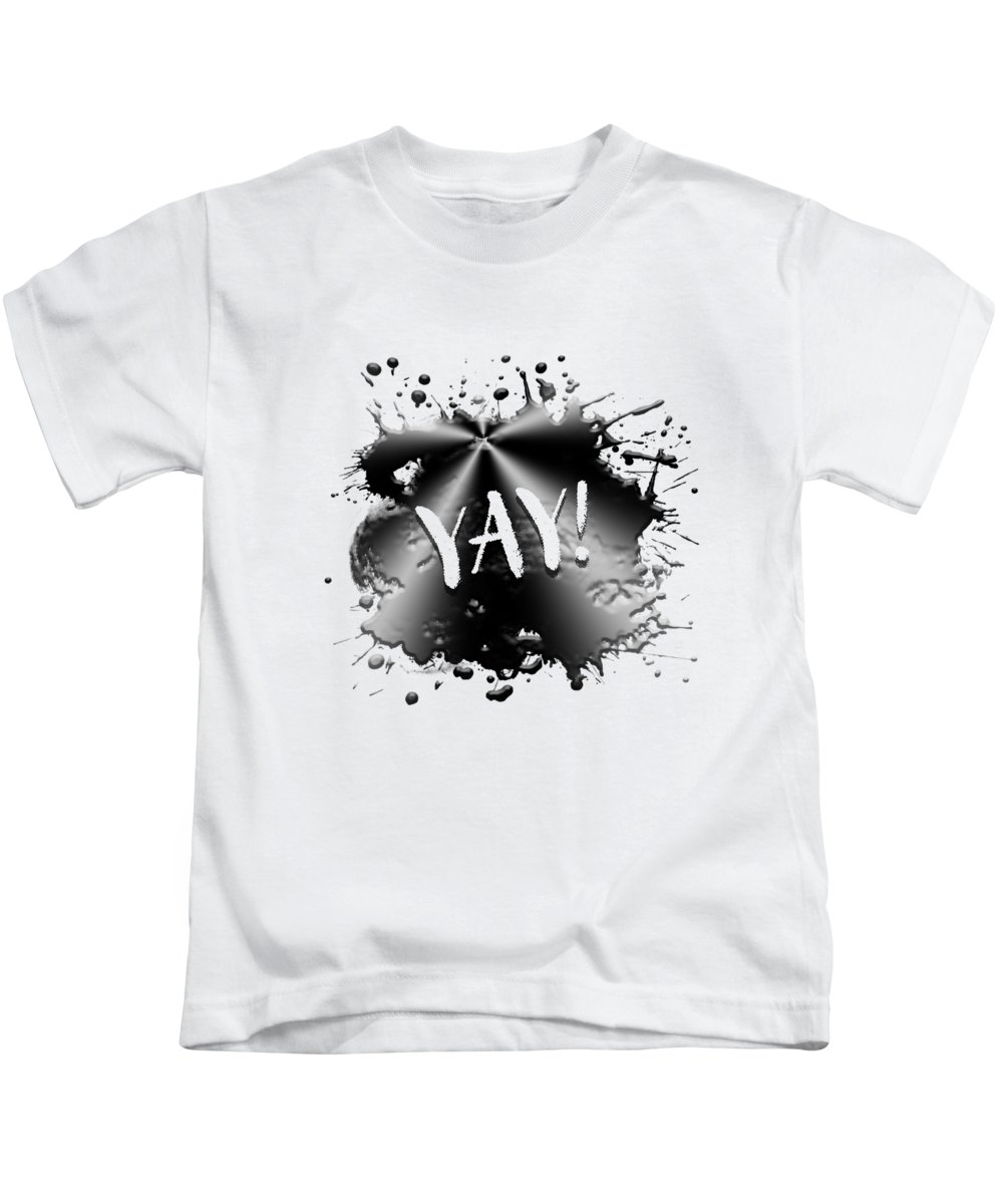 Abstract Kids T-Shirt featuring the digital art Text Art Yay by Melanie Viola