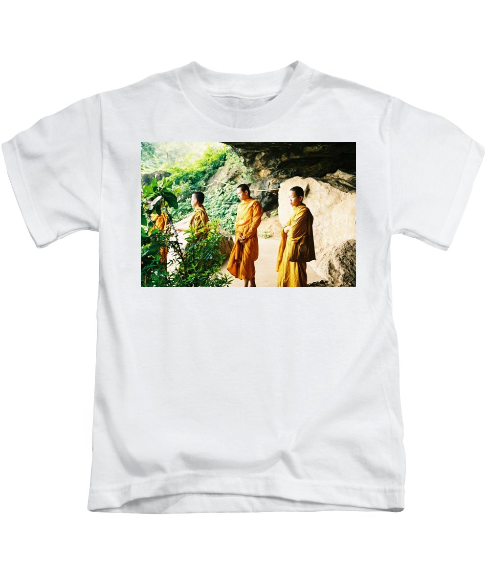 Monks Kids T-Shirt featuring the photograph Thai Monks by Mary Rogers