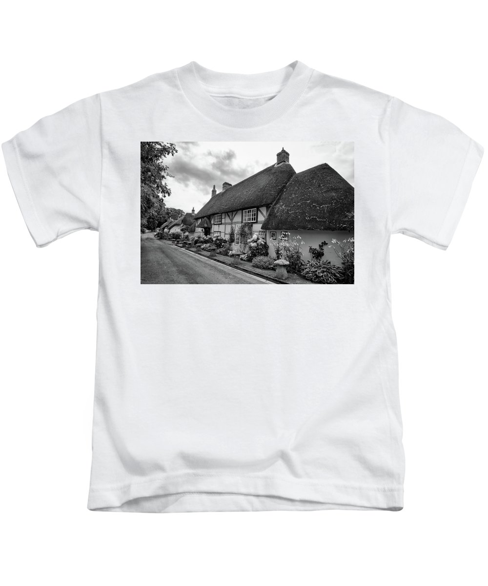 Cottage Kids T-Shirt featuring the photograph Thatched Cottages Of Hampshire 22 by Shirley Mitchell