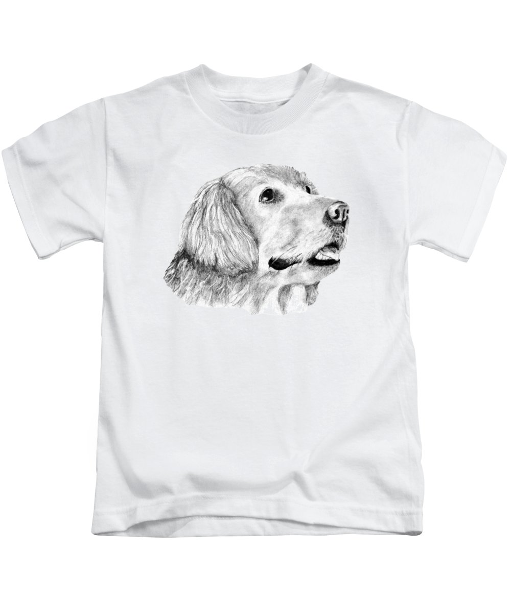 Dog Kids T-Shirt featuring the drawing The Amanda Look by John Stuart Webbstock