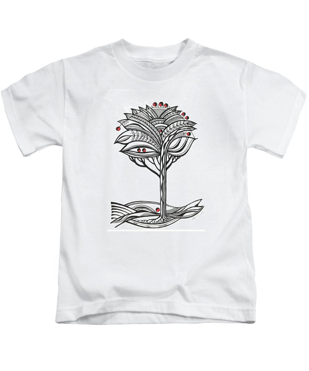 Abstract Kids T-Shirt featuring the drawing The Apple Tree by Aniko Hencz