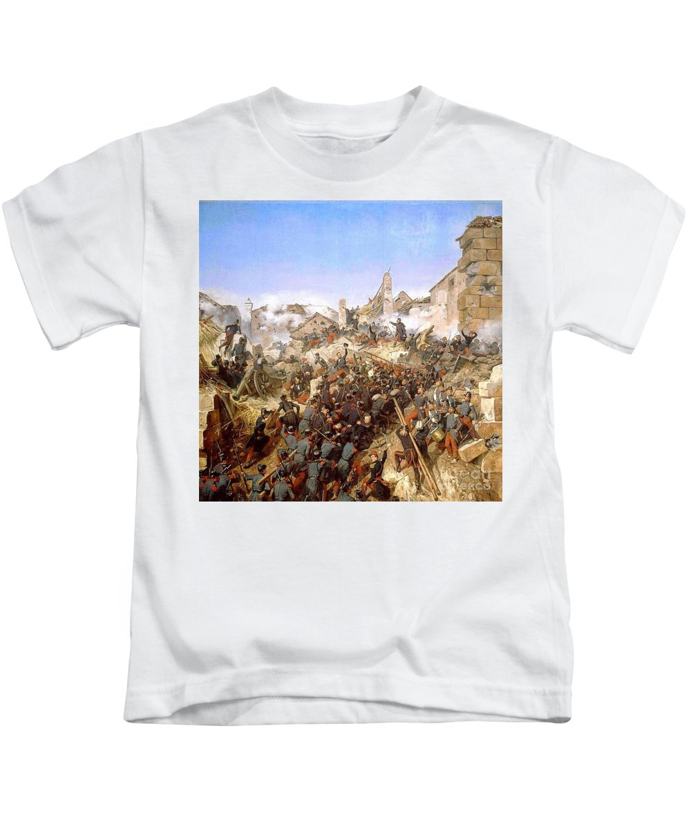 Horace Vernet - The Capture Of Constantine Kids T-Shirt featuring the painting The Capture Of Constantine by MotionAge Designs