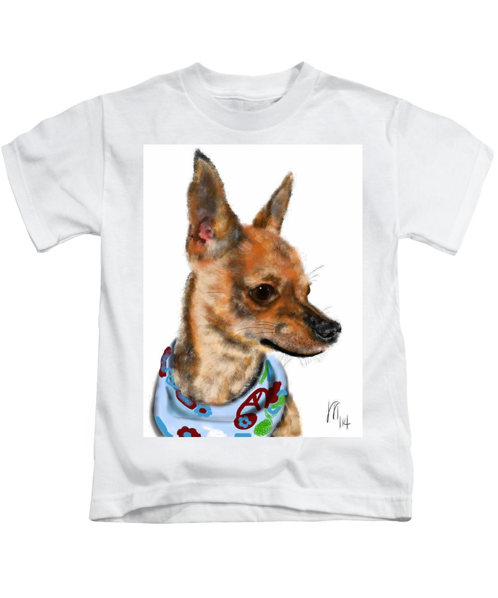 Chihuahua Kids T-Shirt featuring the painting The Chihuahua by Lois Ivancin Tavaf