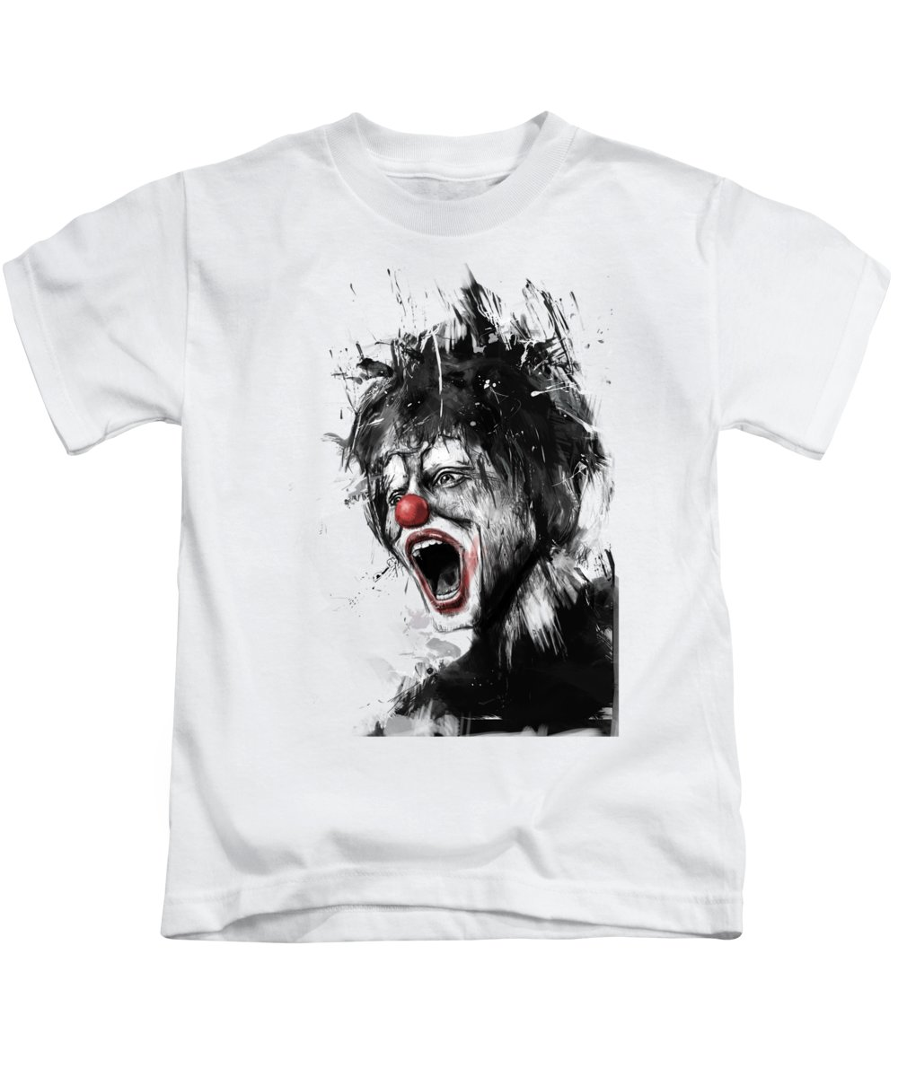 Clown Kids T-Shirt featuring the mixed media The Clown by Balazs Solti