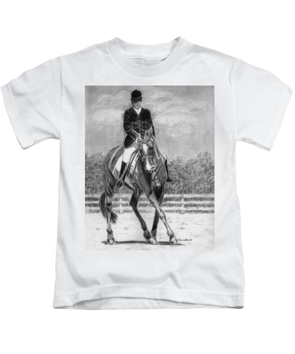 Woman Kids T-Shirt featuring the drawing The Dance by Quwatha Valentine