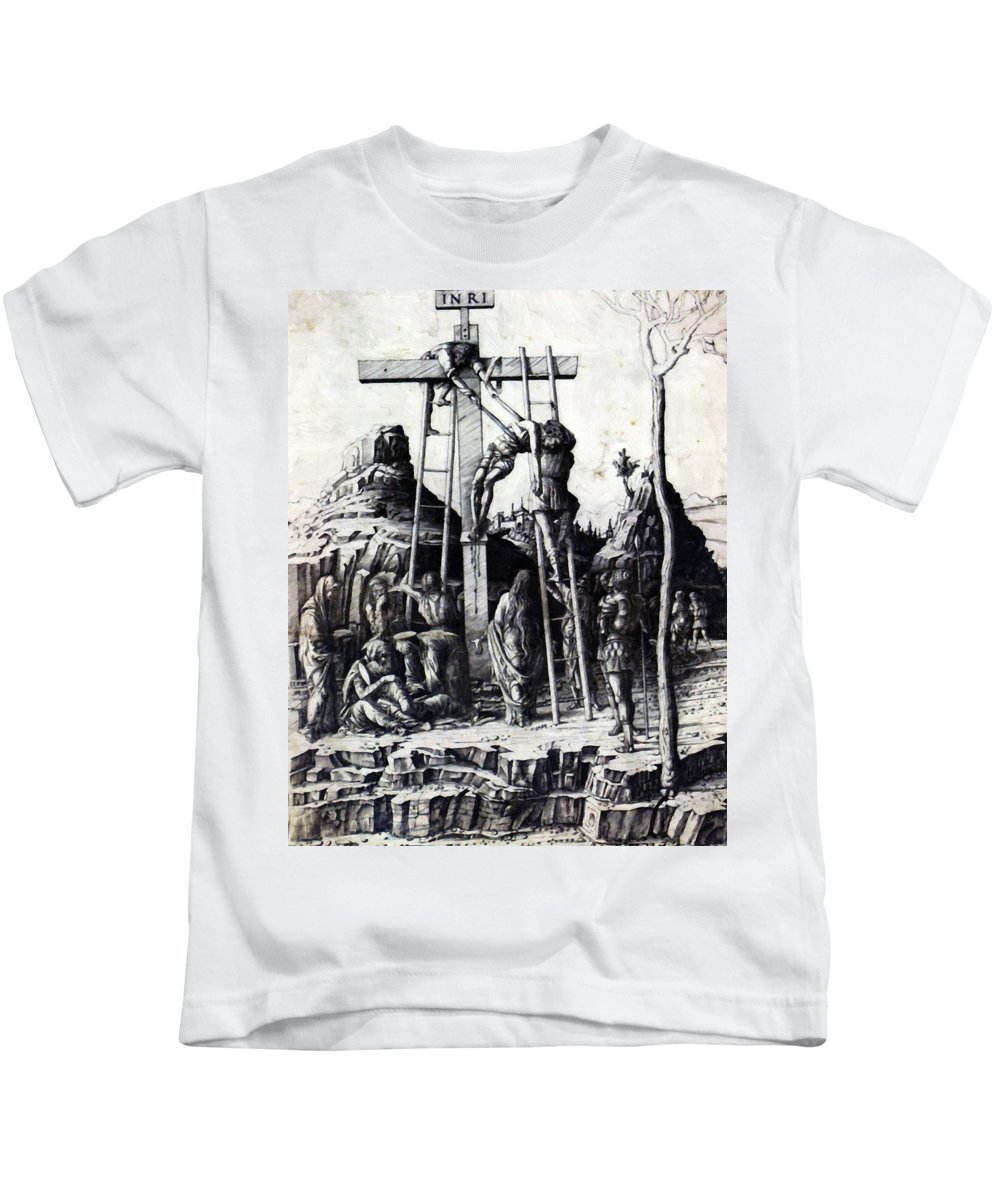 The Kids T-Shirt featuring the painting The Descent From The Cross 1475 by Mantegna Andrea
