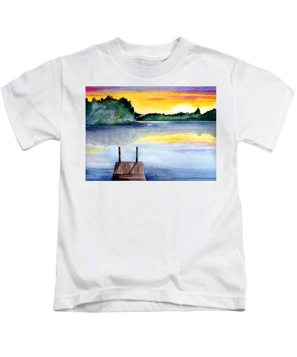 Watercolor Kids T-Shirt featuring the painting The Dock by Brenda Owen