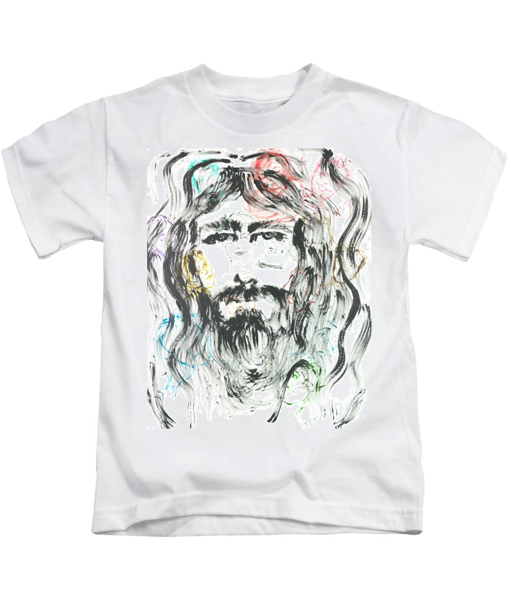 Jesus Kids T-Shirt featuring the painting The Emotions Of Jesus by Nadine Rippelmeyer