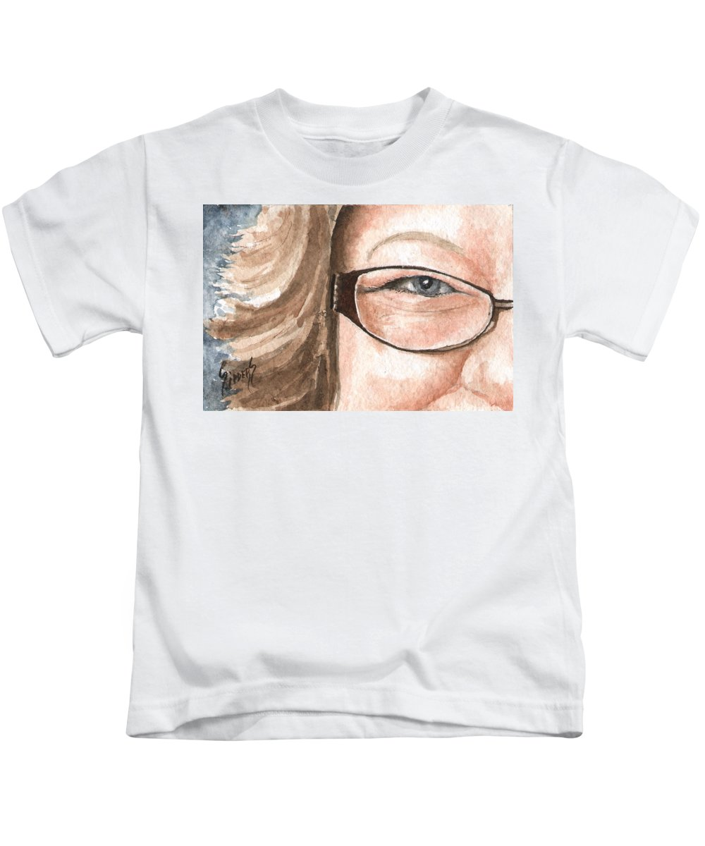 Eyes Kids T-Shirt featuring the painting The Eyes Have It - Emma by Sam Sidders