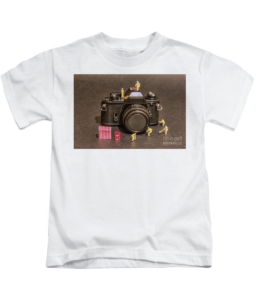 Focus On Film Kids T-Shirt featuring the photograph The Focus On Film Corporation by Steve Purnell and Sandi Cockayne
