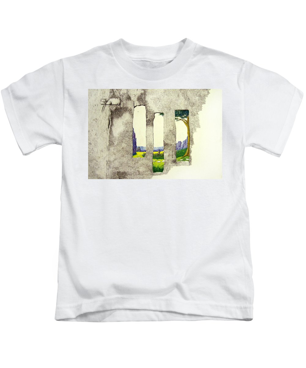 Imaginary Landscape. Kids T-Shirt featuring the painting The Garden by A Robert Malcom