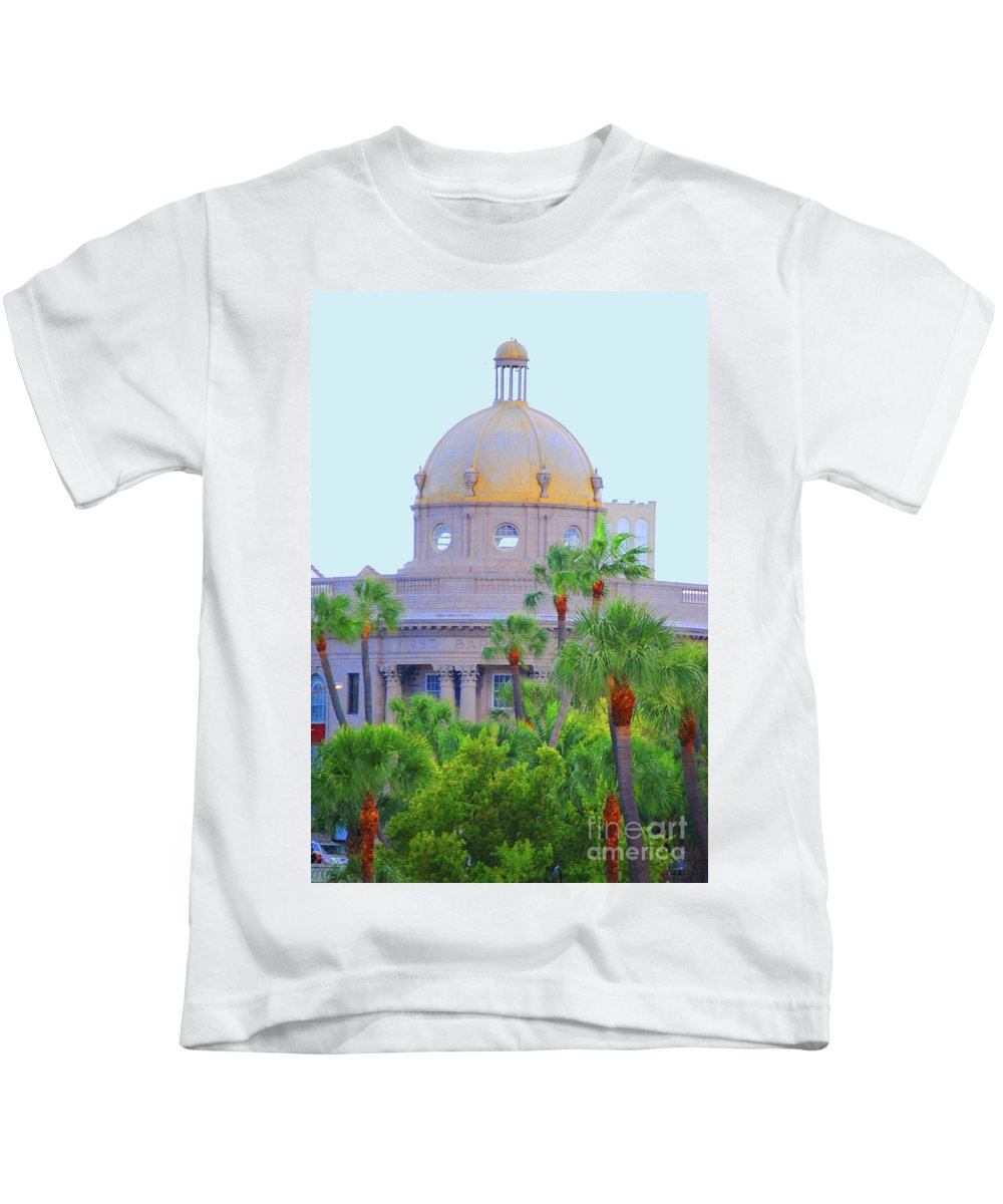 Church Kids T-Shirt featuring the photograph The Gold Dome by Jost Houk