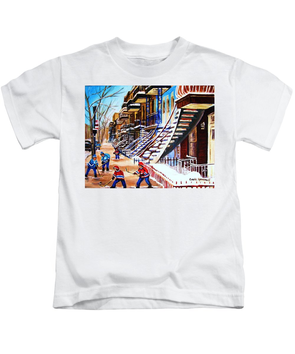 Hockey Kids T-Shirt featuring the painting The Gray Staircase by Carole Spandau