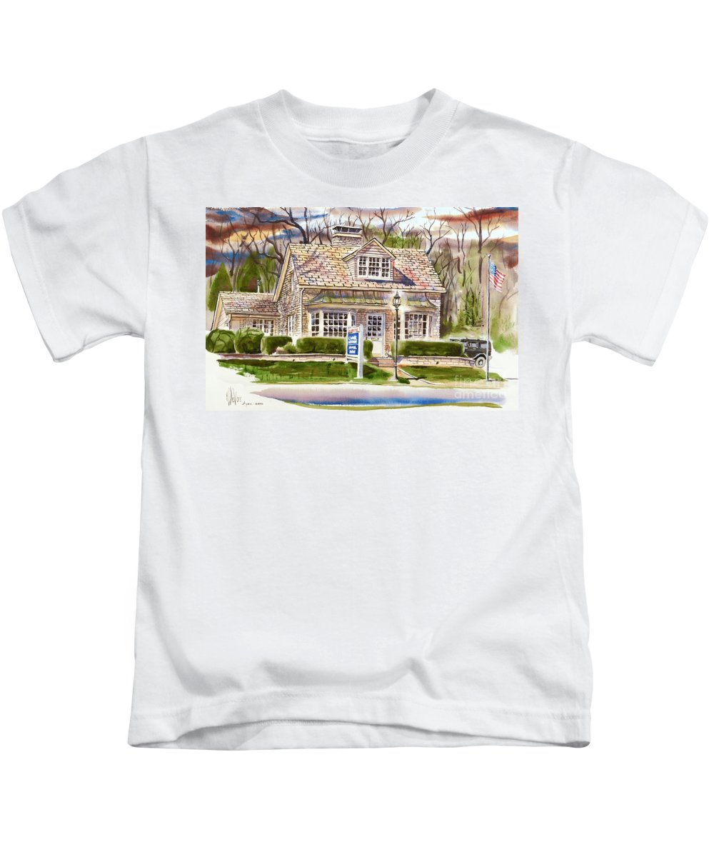 The Greystone Inn In Brigadoon Kids T-Shirt featuring the painting The Greystone Inn In Brigadoon by Kip DeVore