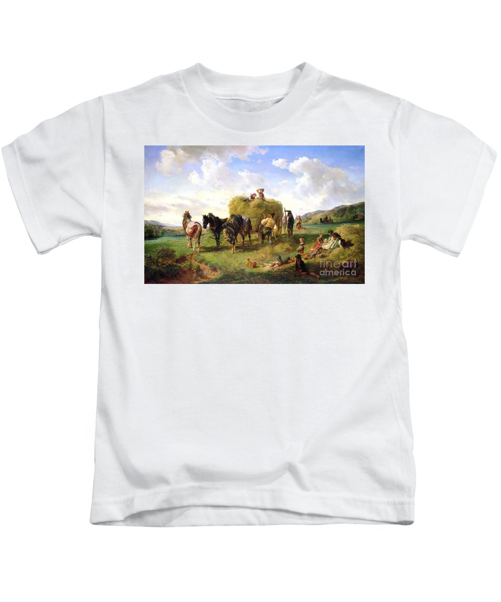 The Kids T-Shirt featuring the painting The Hay Harvest by Hermann Kauffmann