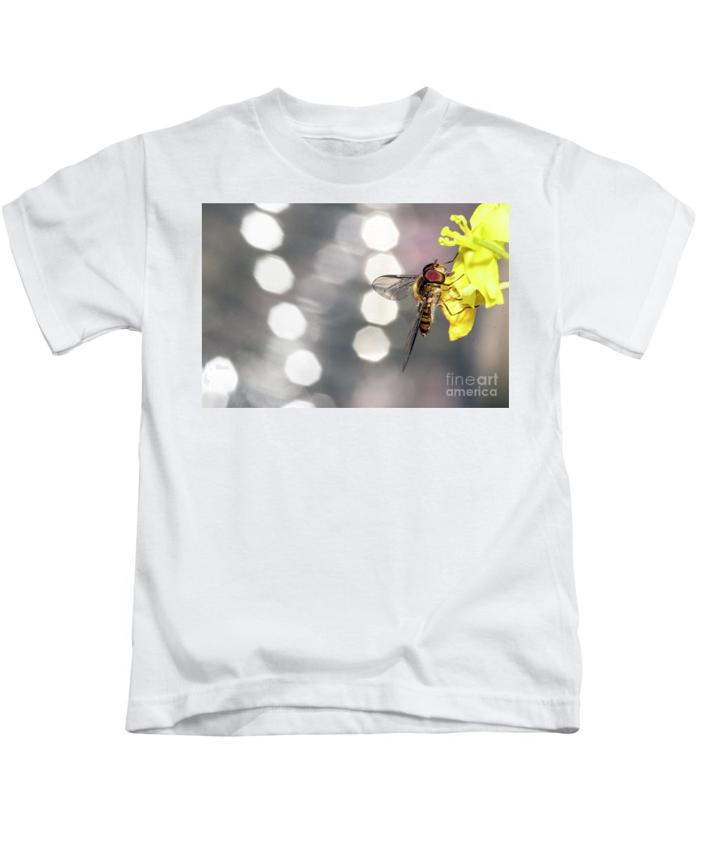 Animal Kids T-Shirt featuring the photograph The Hoverfly by Odon Czintos