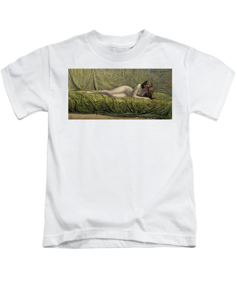 Carlos Schwabe Kids T-Shirt featuring the drawing The Jade Ring by Carlos Schwabe
