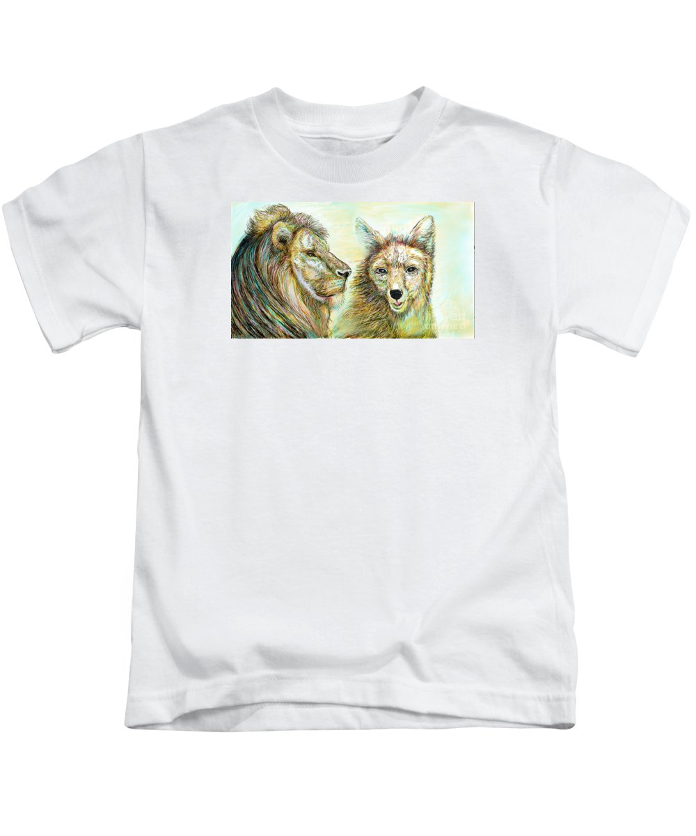 Lion Kids T-Shirt featuring the painting The Lion And The Fox 3 - To Face How Real Of Faith by Sukalya Chearanantana