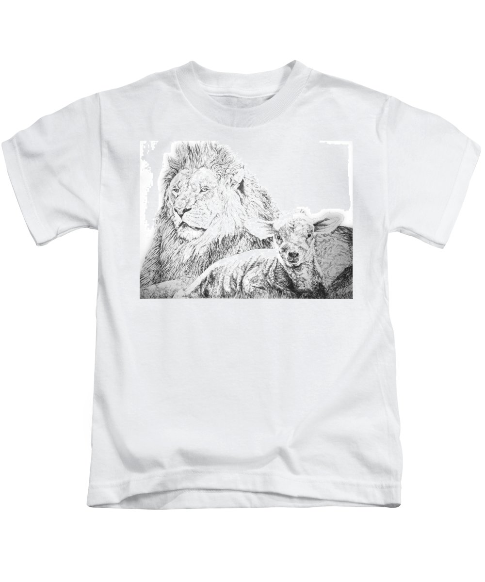 Lion Kids T-Shirt featuring the drawing The Lion And The Lamb by Bryan Bustard
