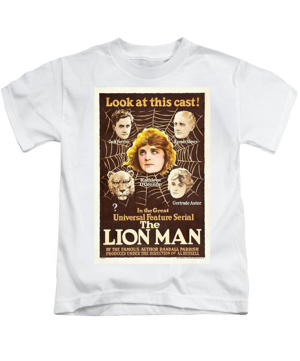 Movie Kids T-Shirt featuring the drawing The Lion Man 1919 by Mountain Dreams
