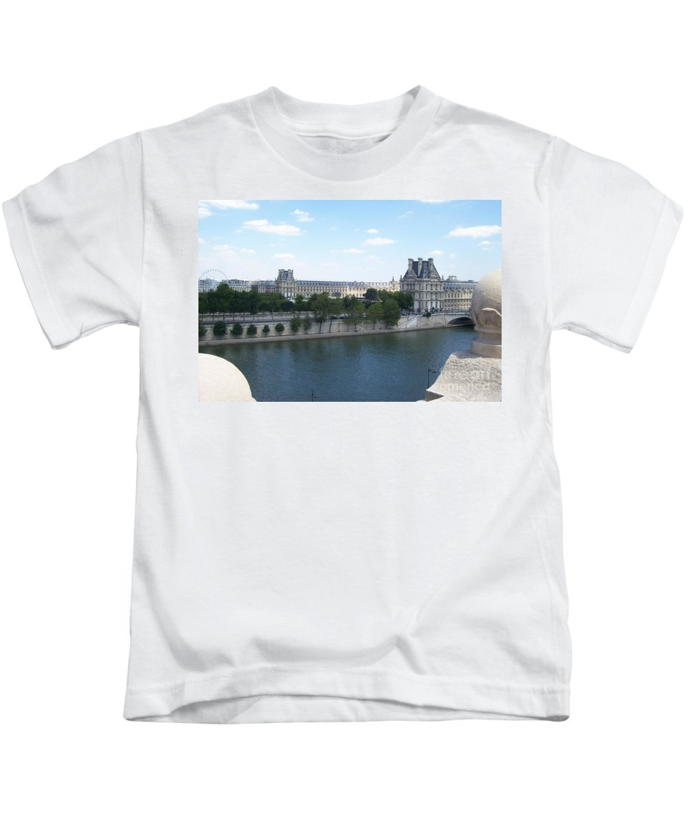 Human Kids T-Shirt featuring the photograph The Louvre by Mary Mikawoz