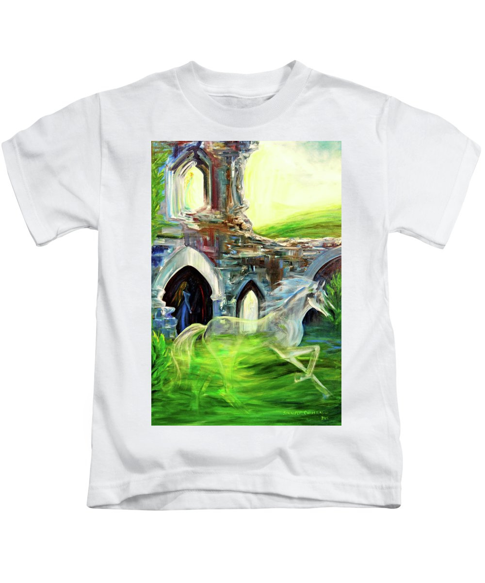 England Kids T-Shirt featuring the painting The Magic And Majesty Of Corfe Castle by Jennifer Christenson