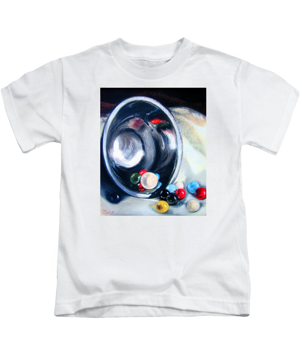 Marbles Kids T-Shirt featuring the pastel The Marble Bowl by Leyla Munteanu