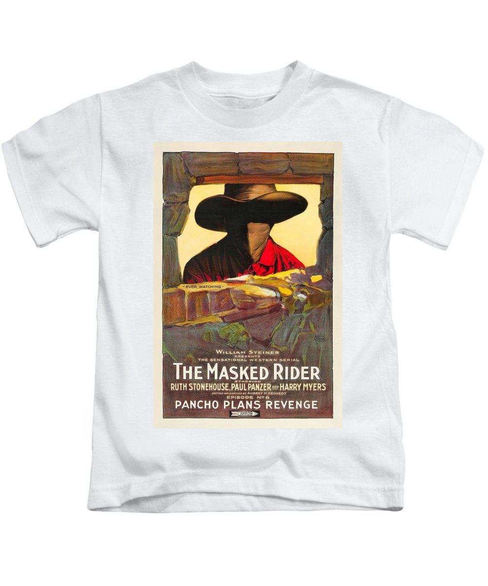Movie Kids T-Shirt featuring the drawing The Masked Rider 1919 by Mountain Dreams
