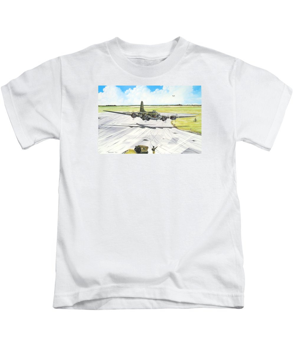 Military Kids T-Shirt featuring the painting The Memphis Belle by Marc Stewart