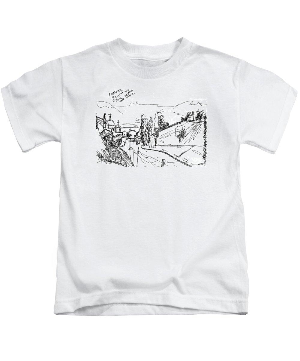 Croquis Kids T-Shirt featuring the drawing The Mist At The River Oka. 1 Septemper, 2015 by Tatiana Chernyavskaya