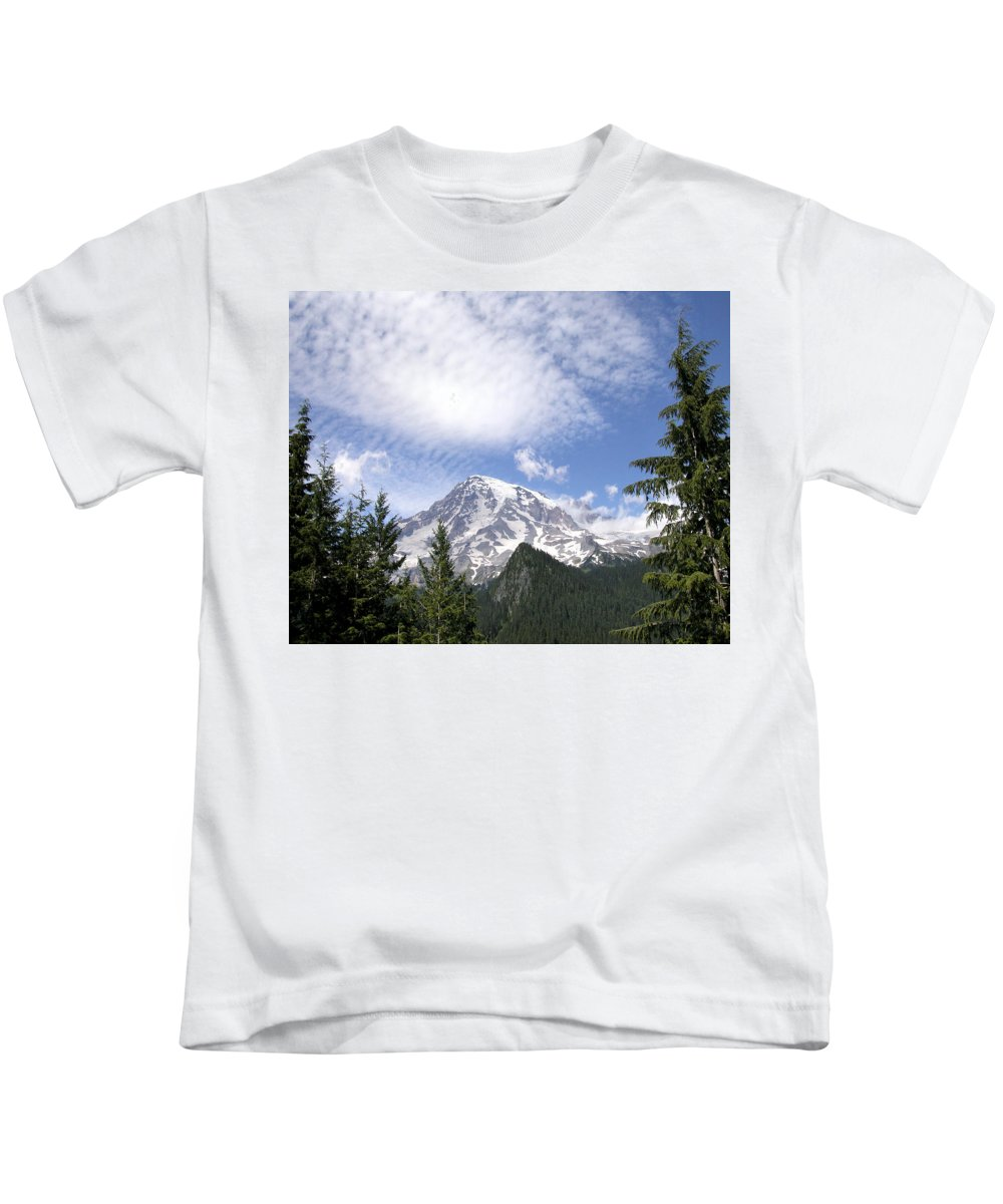 Mountain Kids T-Shirt featuring the photograph The Mountain Mt Rainier Washington by Michael Bessler