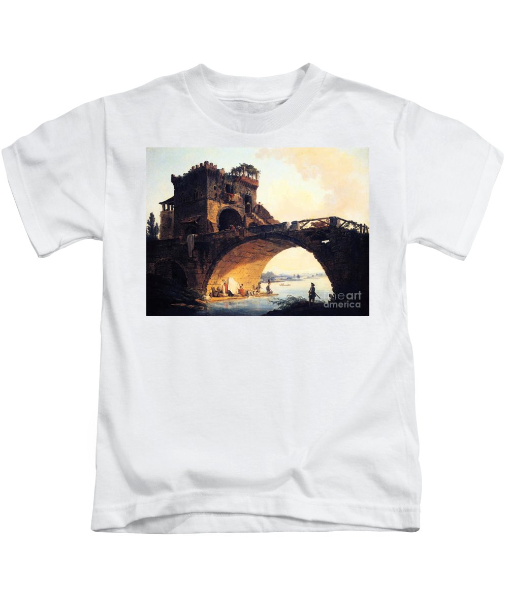 Hubert Robert The Old Bridge Kids T-Shirt featuring the painting The Old Bridge by MotionAge Designs