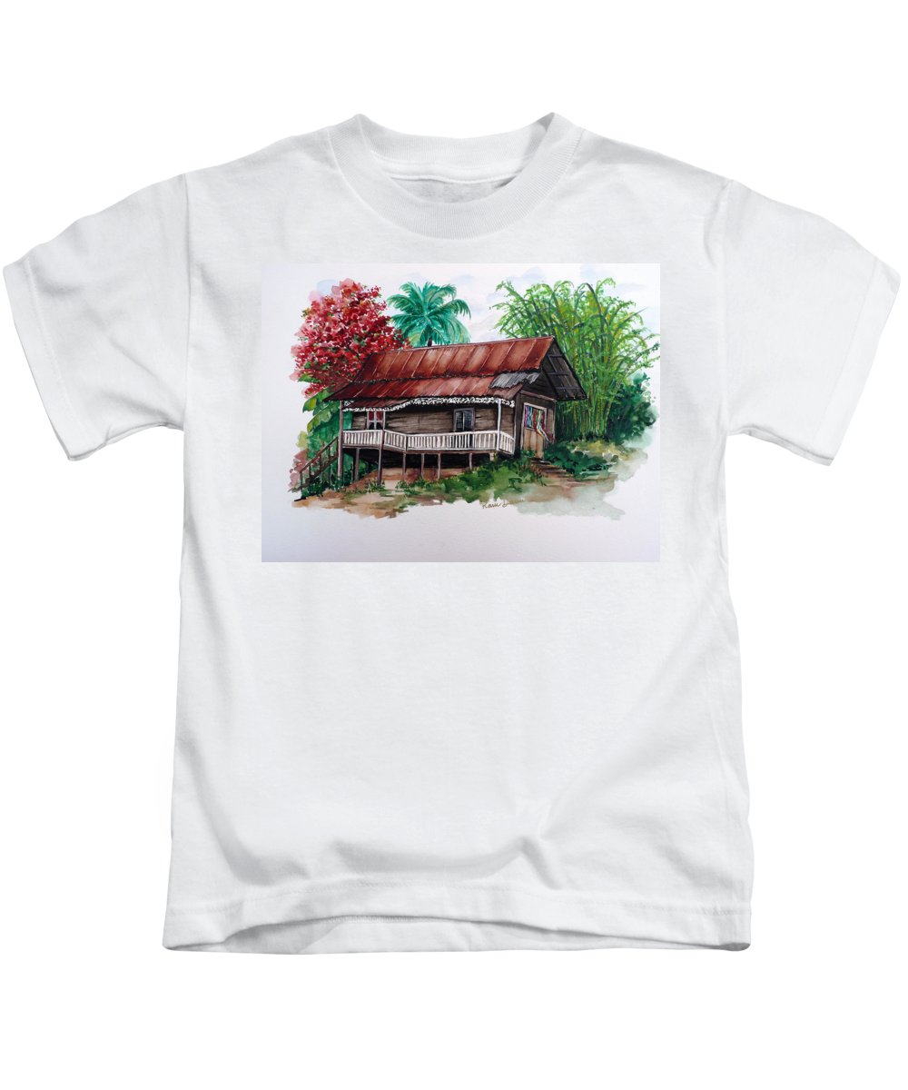 Tropical Painting Poincianna Painting Caribbean Painting Old House Painting Cocoa House Painting Trinidad And Tobago Painting  Tropical Painting Flamboyant Painting Poinciana Red Greeting Card Painting Kids T-Shirt featuring the painting The Old Cocoa House by Karin Dawn Kelshall- Best