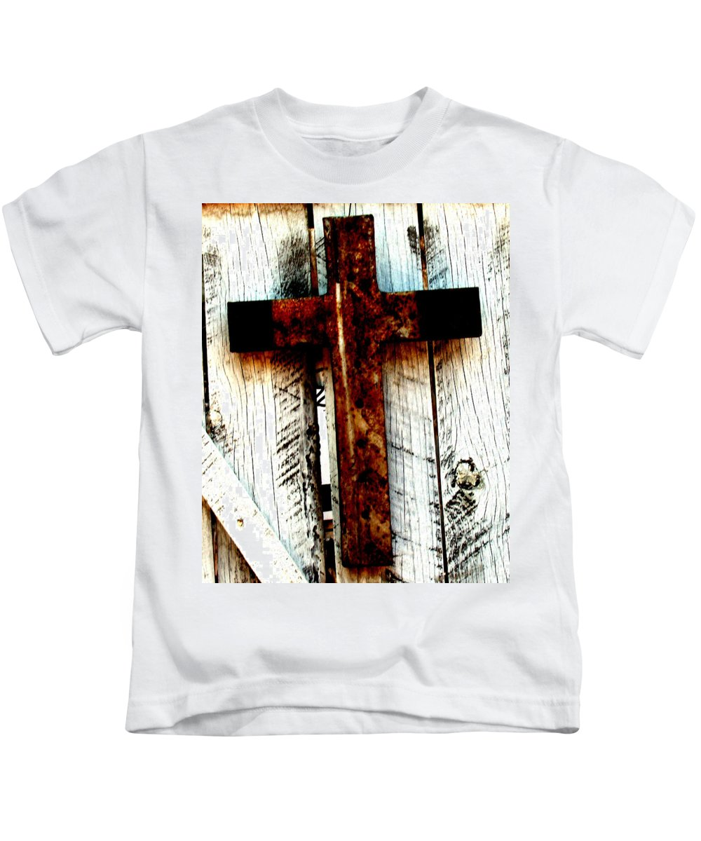 Cross Kids T-Shirt featuring the photograph The Old Rusted Cross by Wayne Potrafka