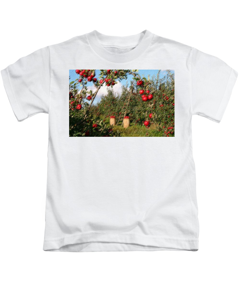 Apple Kids T-Shirt featuring the digital art The Orchard by CR Beaumont