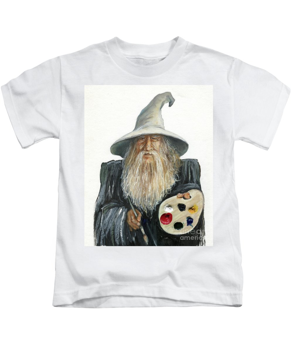 Wizard Kids T-Shirt featuring the painting The Painting Wizard by J W Baker