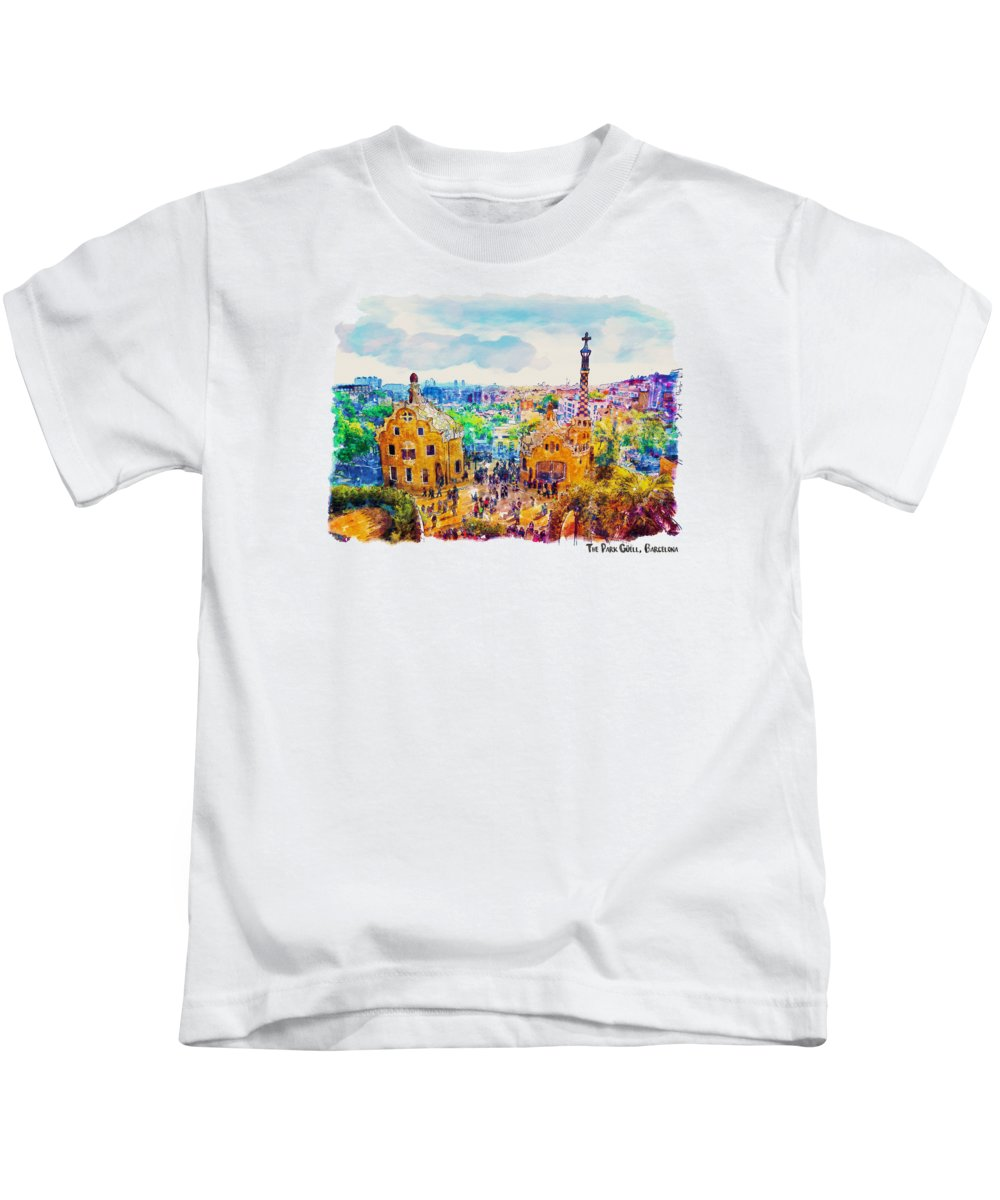 Park Guell Kids T-Shirt featuring the painting Park Guell Barcelona by Marian Voicu