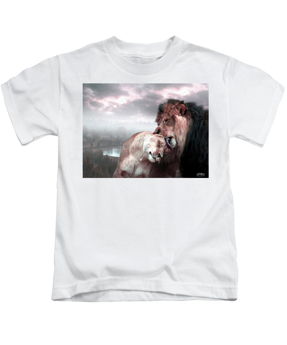 Lions Kids T-Shirt featuring the digital art The Passion by Bill Stephens