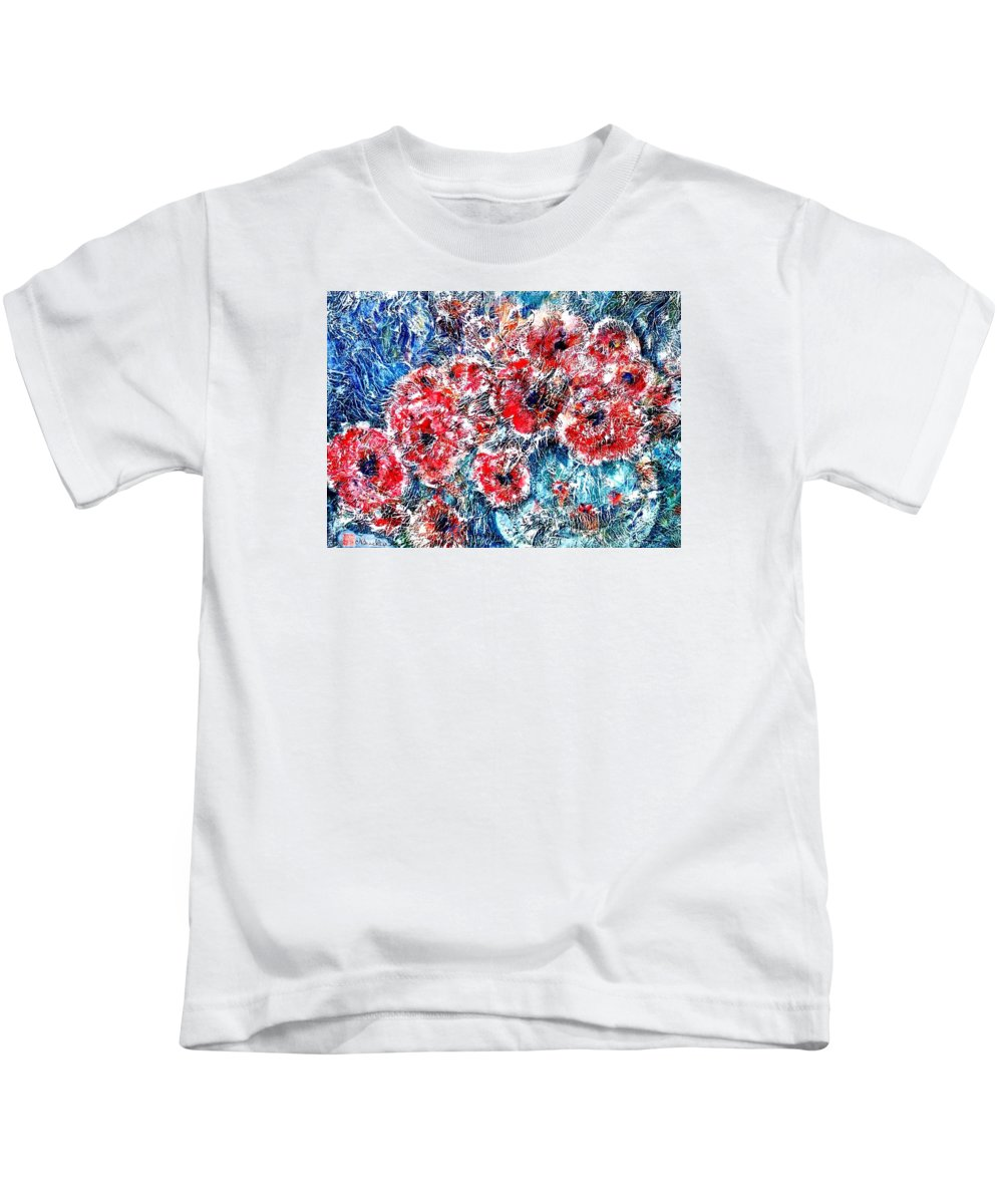 Poppies Kids T-Shirt featuring the painting The Poppies by Norma Boeckler