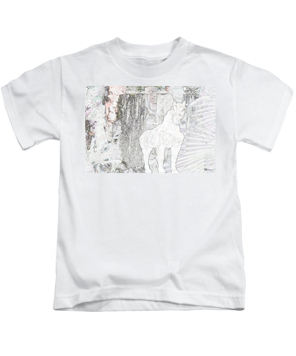 Waterfall Horse Horses Stallion Jungle Forest Scenery Trees Fantasy Kids T-Shirt featuring the photograph The Protector by Andrea Lawrence